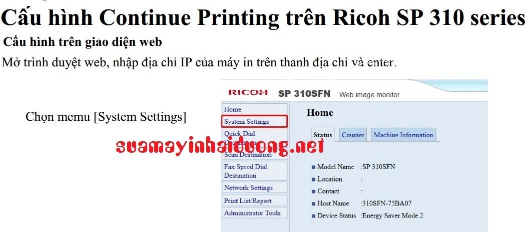Reset lỗi máy in Ricoh | Sửa máy in ricoh Hải Dương
